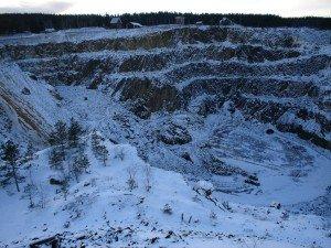 Bergwerk von Falun im Winter