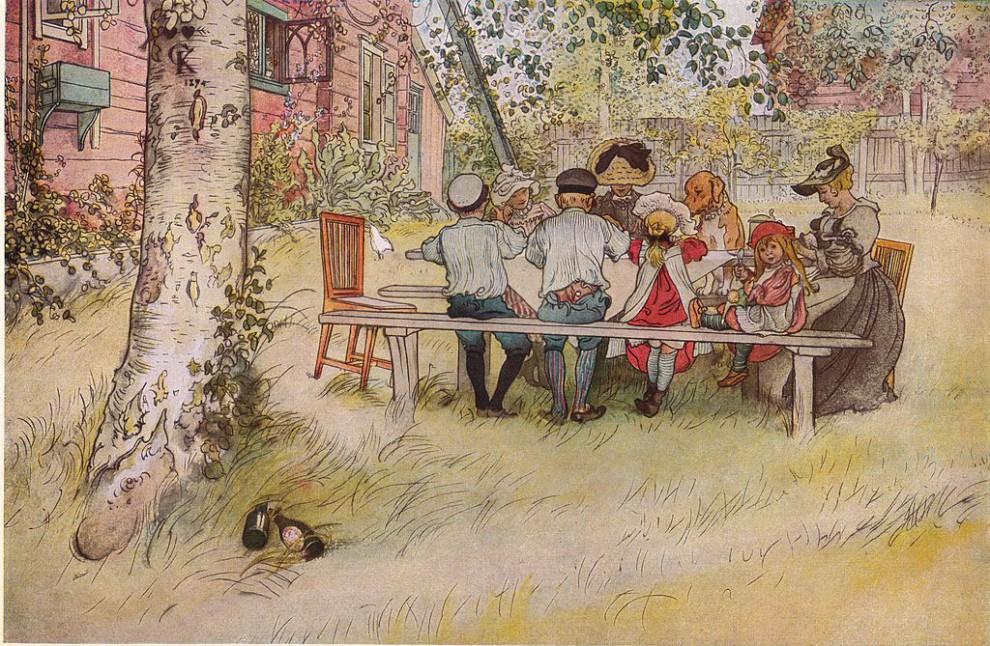Carl Larsson: Frukost under stora björken 1896