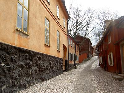 Blick in den Skansen in Stockholm