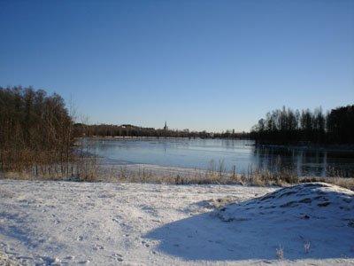 Blick auf Falun im Winter