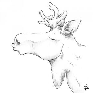 knutschender Elch - Zeichnung
