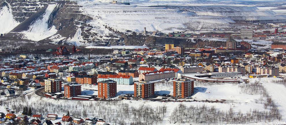 Kiruna mit Bergbau im Hintergrund