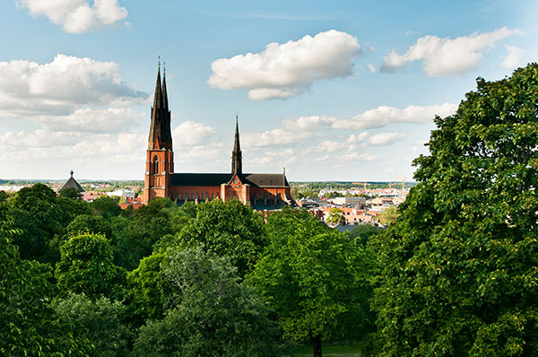Blick auf die Kathedrale von Uppsala
