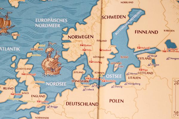 """Karte auf der Innenumschlagseite von """"Eine kurze Geschichte der nordischen Welt"""""""