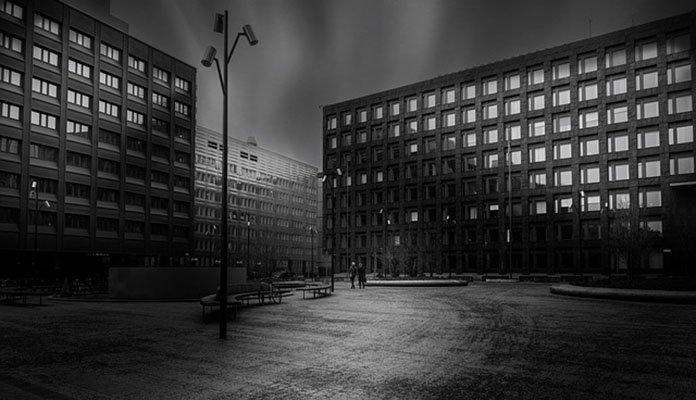 Stockholm trist in Schwarz-Weiß