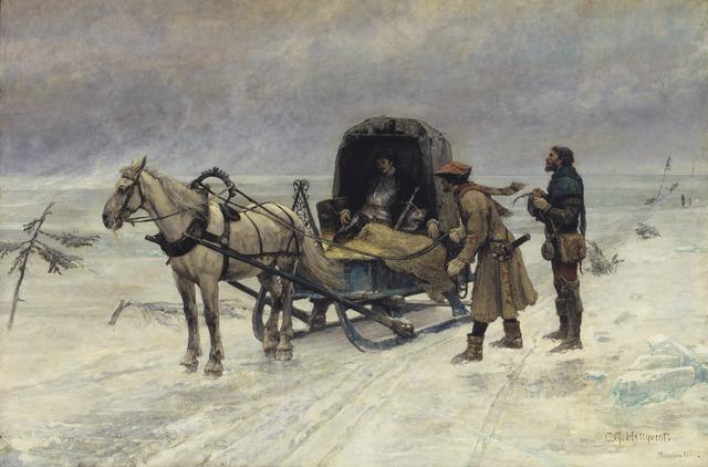 Carl Gustaf Hellqvist: Der Tod des Sten Sture des Jüngeren auf dem Eis des Mälaren